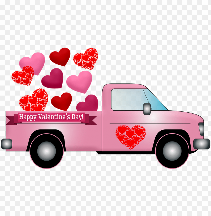 free PNG valentine truck hearts valentine pink truck - happy valentine day PNG image with transparent background PNG images transparent
