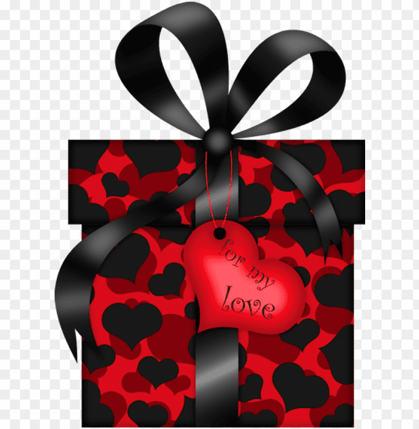 free PNG valentines day black and red gift with hearts png clipart - red black valentine's day clipart PNG image with transparent background PNG images transparent
