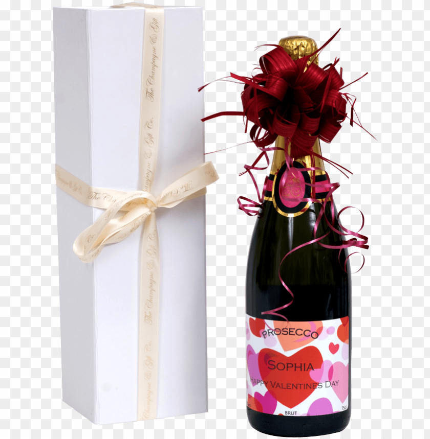 free PNG valentines prosecco in white presentation box - glass bottle PNG image with transparent background PNG images transparent