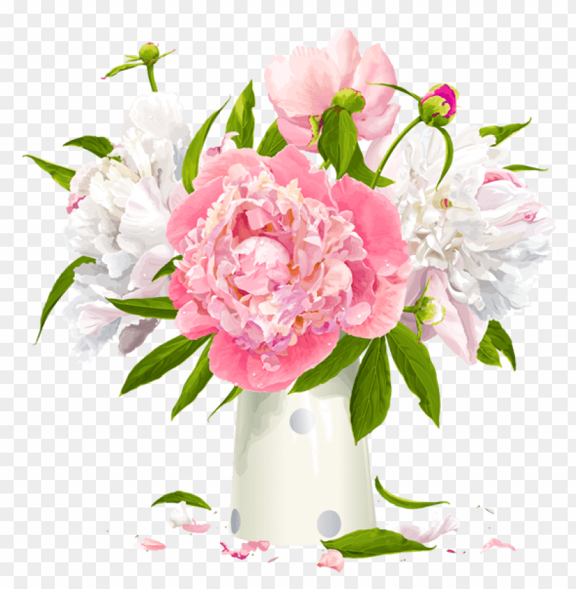 free PNG Download vase with white and pink peonies png images background PNG images transparent