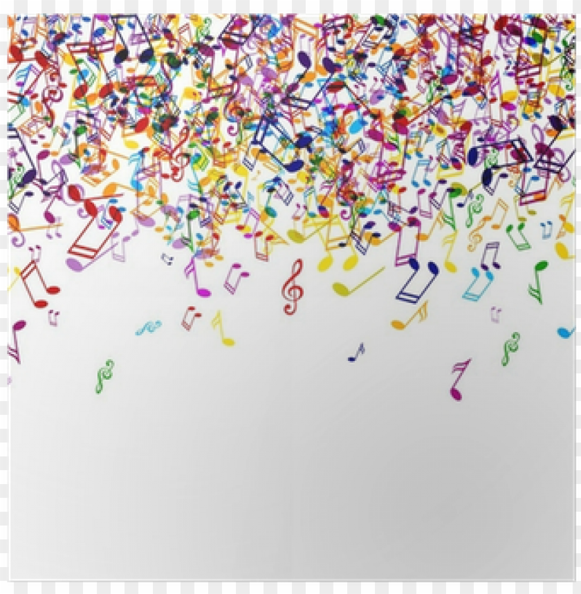 free PNG vector background with colorful music notes poster - color music notes PNG image with transparent background PNG images transparent