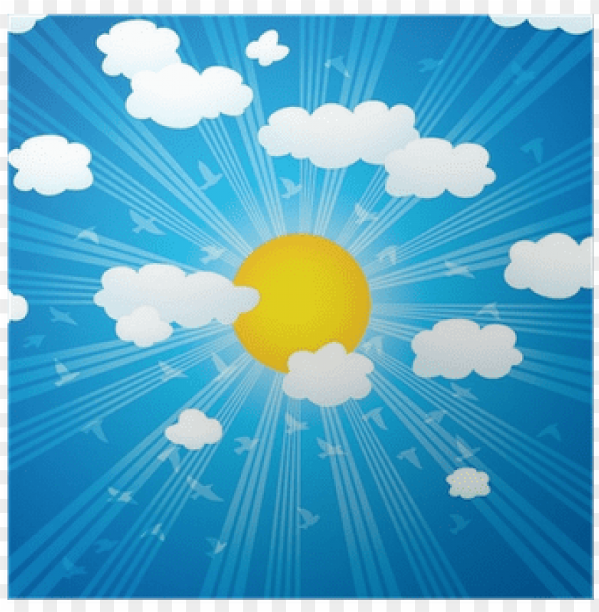 free PNG vector clouds, sun rays and flying birds in the sky - cloud PNG image with transparent background PNG images transparent