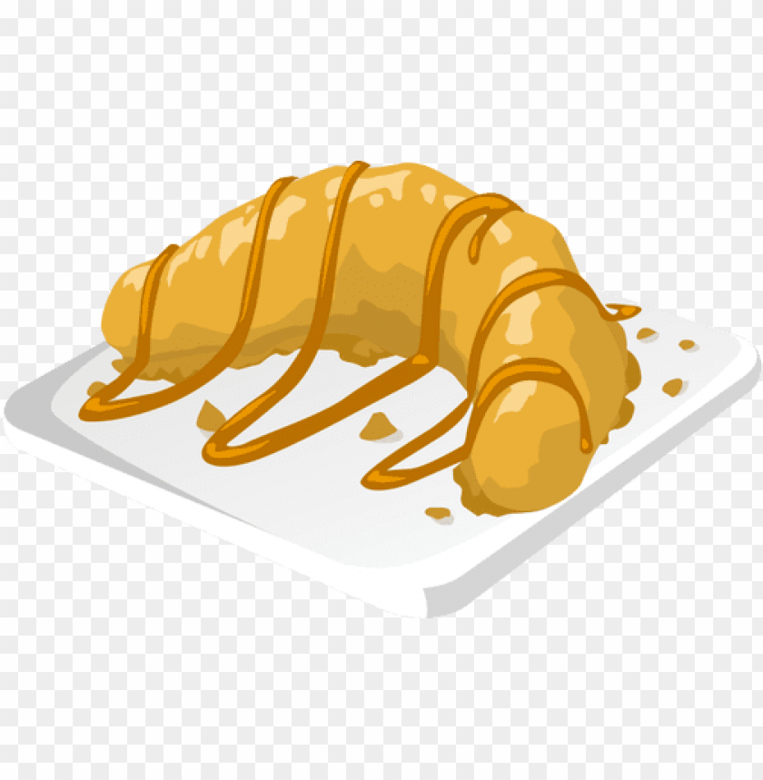 free PNG vector drawing of banana dessert with caramel icing - banana dessert vector PNG image with transparent background PNG images transparent