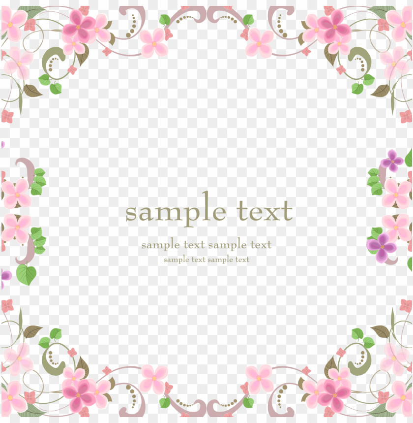 free PNG vector flowers material transprent - pink flower square border PNG image with transparent background PNG images transparent