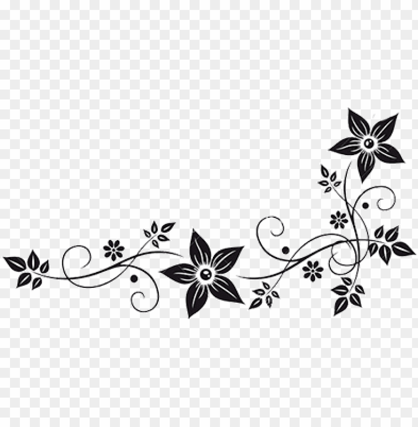 free PNG vector graphics flower border black white clip art - flowers black and white PNG image with transparent background PNG images transparent
