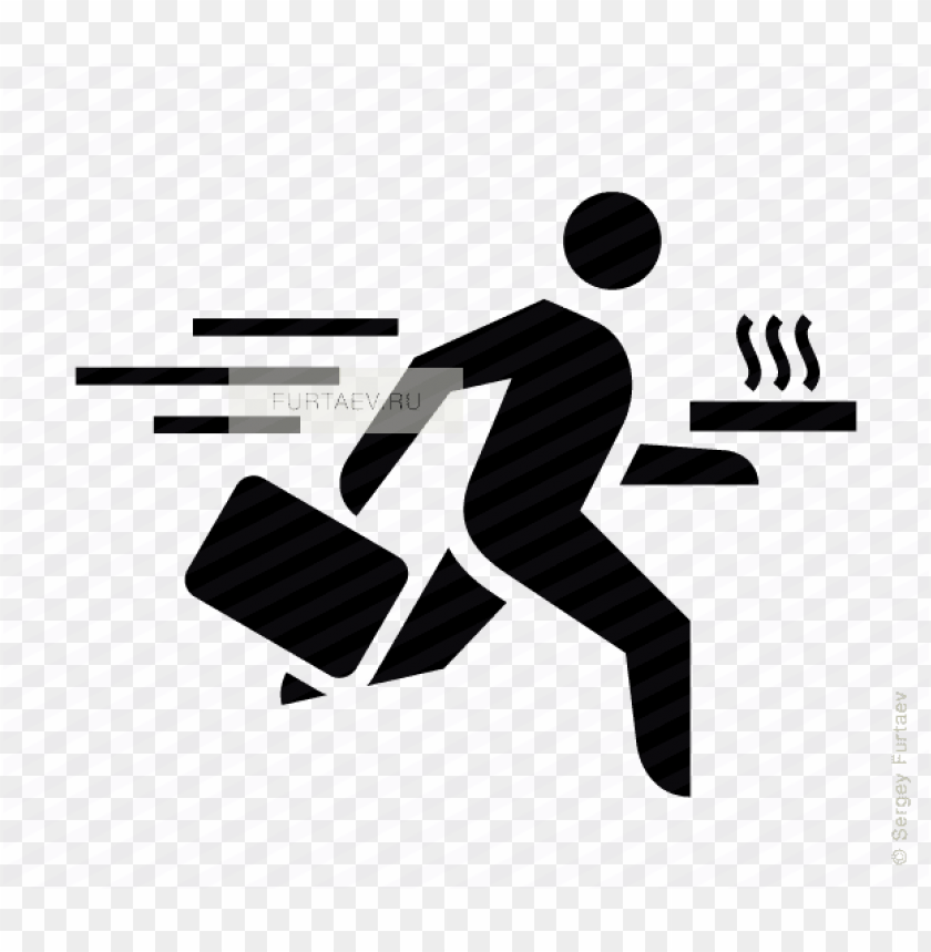 free PNG vector icon of running man with briefcase and pizza - free vector icon of businessma PNG image with transparent background PNG images transparent