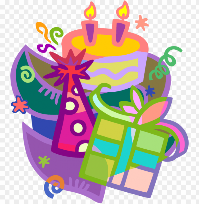 free PNG vector illustration of birthday party celebration with - birthday cake and gift clip art PNG image with transparent background PNG images transparent