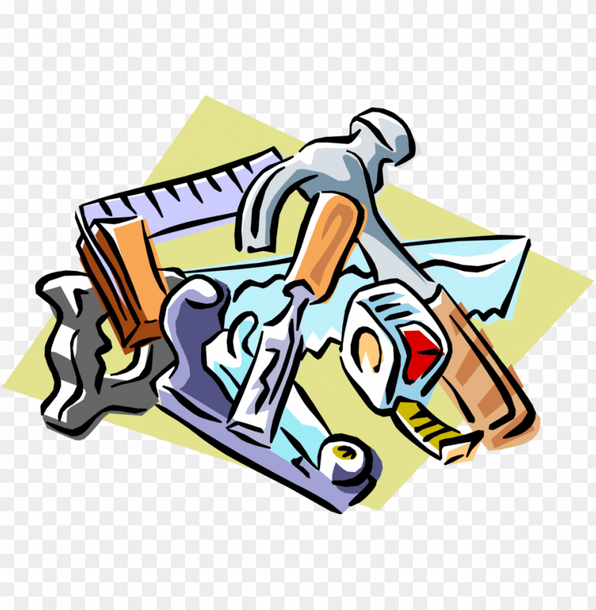 free PNG vector illustration of carpentry and woodworking tools - carpenter tools clipart PNG image with transparent background PNG images transparent