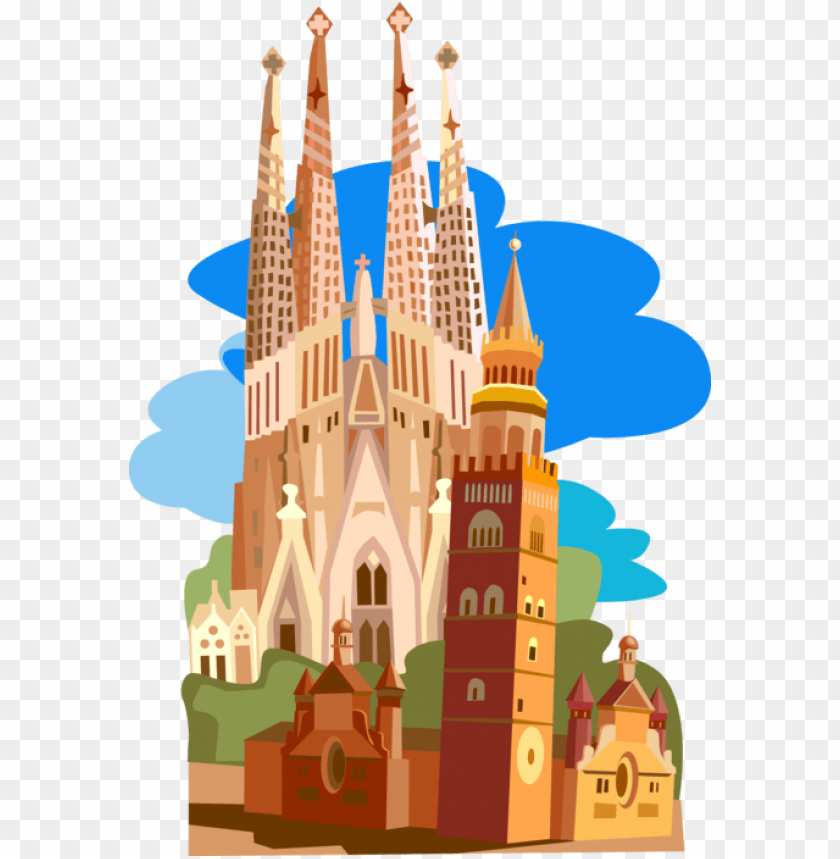free PNG vector illustration of la sagrada família basilica - spain clip art PNG image with transparent background PNG images transparent