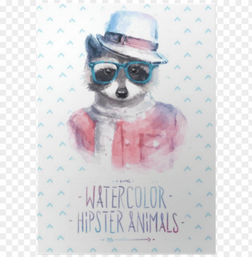 free PNG vector illustration of raccoon portrait in sunglasses - colorful watercolor image hipster raccoon printed o PNG image with transparent background PNG images transparent