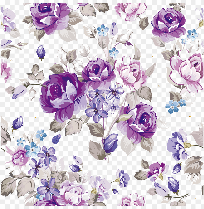 free PNG vector library flower design paper pattern watercolor - purple watercolor flowers vector PNG image with transparent background PNG images transparent
