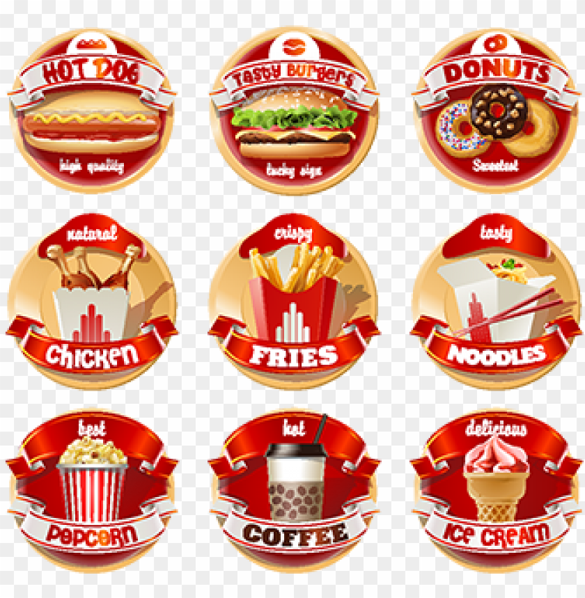 free PNG vector set of fast food logos stickers red dogs, food, - fast food logo PNG image with transparent background PNG images transparent