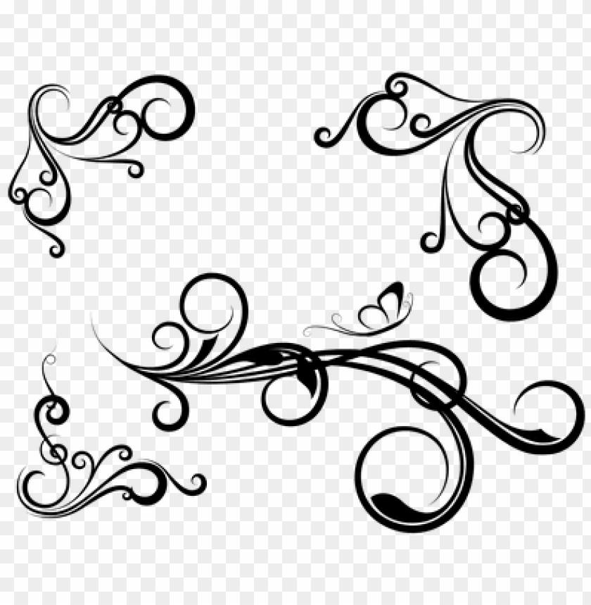 Victorian Art Deco Corner Border Swirl Designs Png Image With Transparent Background Toppng