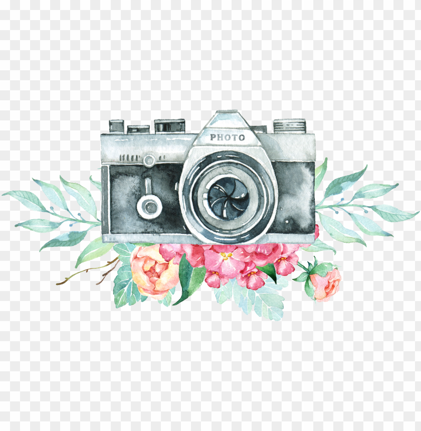 free PNG vintage camera logo png png royalty free stock - camera with flowers PNG image with transparent background PNG images transparent