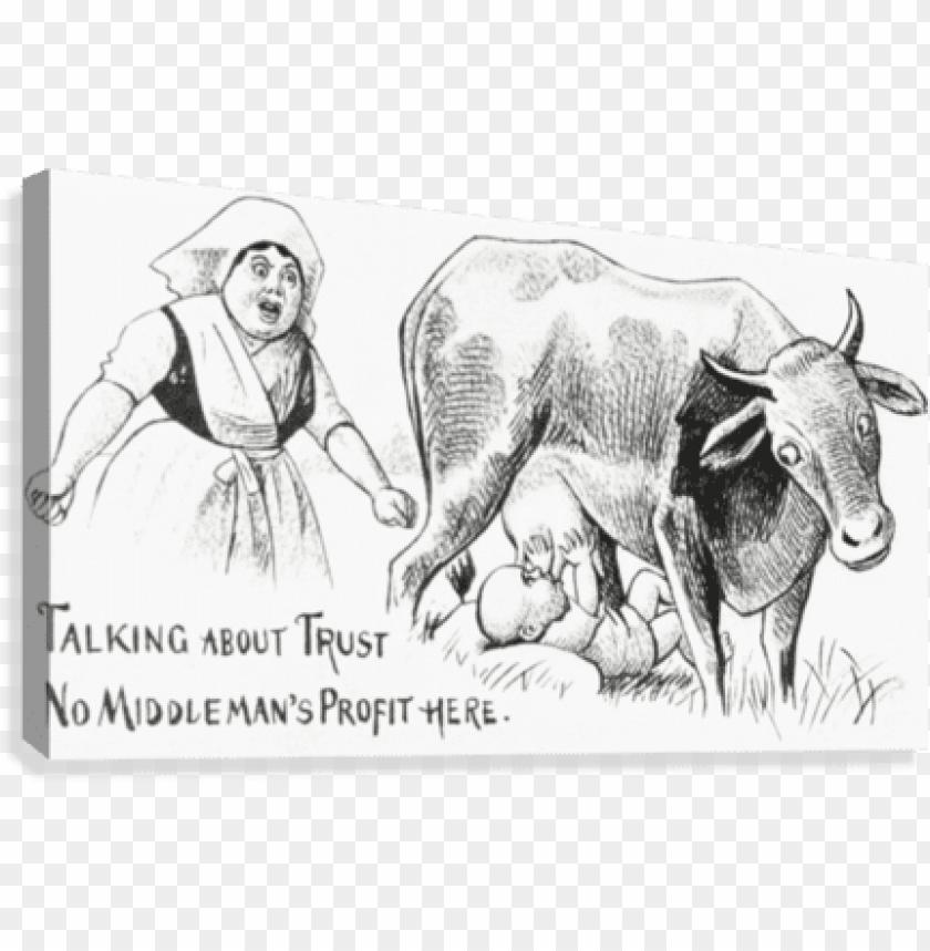 free PNG vintage illustration of baby sucking utters from cow - posterazzi vintage illustration of baby sucking utters PNG image with transparent background PNG images transparent