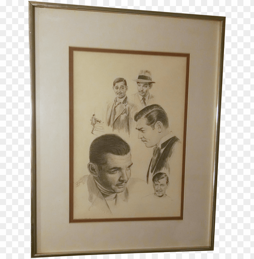 free PNG vintage lithograph drawing clark gable glen fortune PNG image with transparent background PNG images transparent