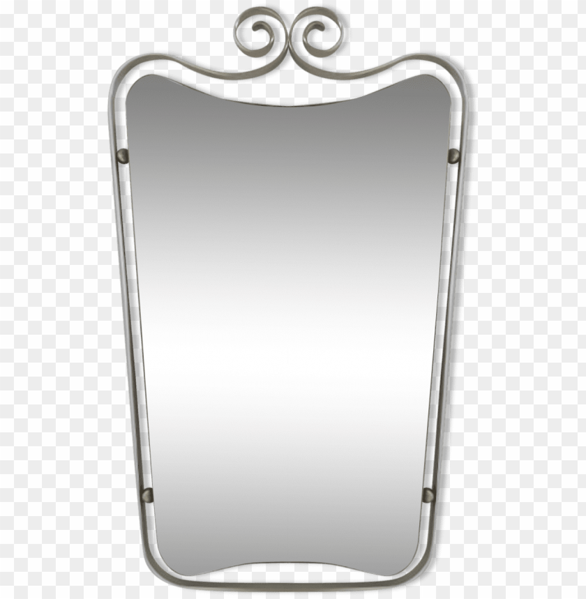 free PNG vintage mirror slipped into an aluminum frame - silver PNG image with transparent background PNG images transparent