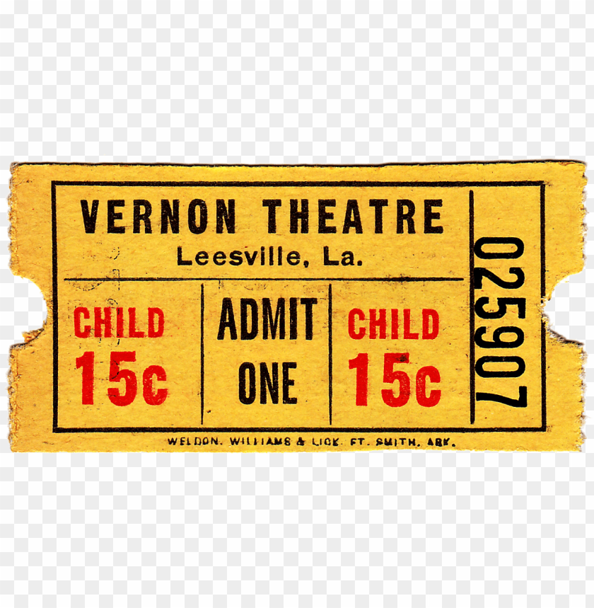 Vintage Movie Ticket Template 5426 Carmine Png Image With Transparent Background Toppng