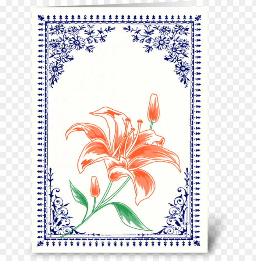 free PNG vintage orange flower 4 with blue border greeting card - .:: moondreams::. vintage gelbe karte PNG image with transparent background PNG images transparent
