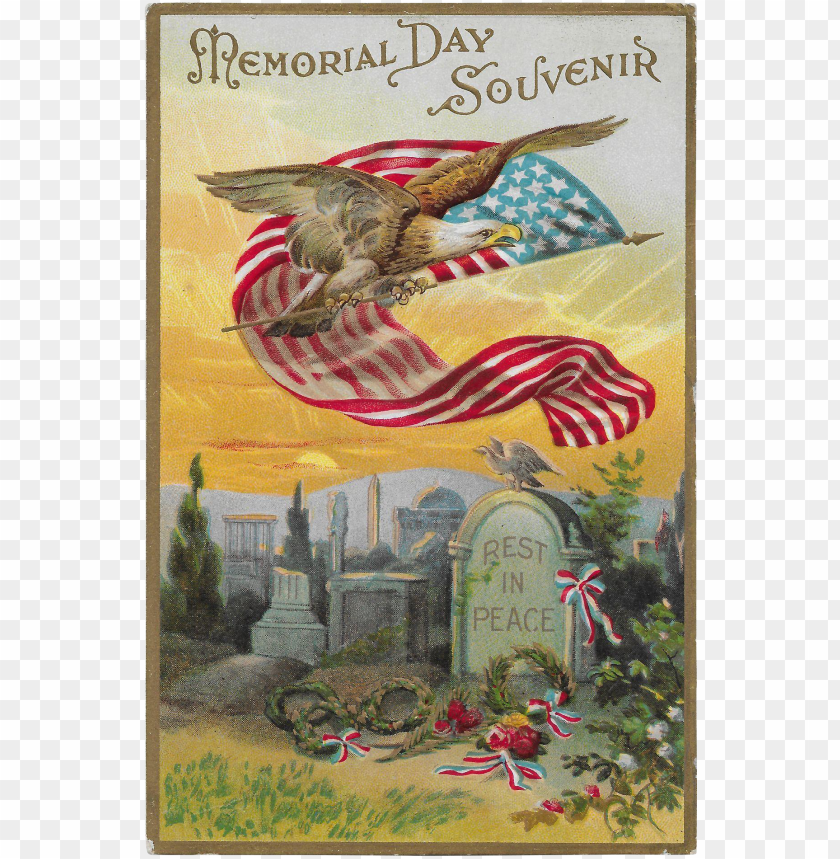 vintage patriotic postcard memorial day souvenir eagle, - vintage american flag greeti PNG image with transparent background@toppng.com
