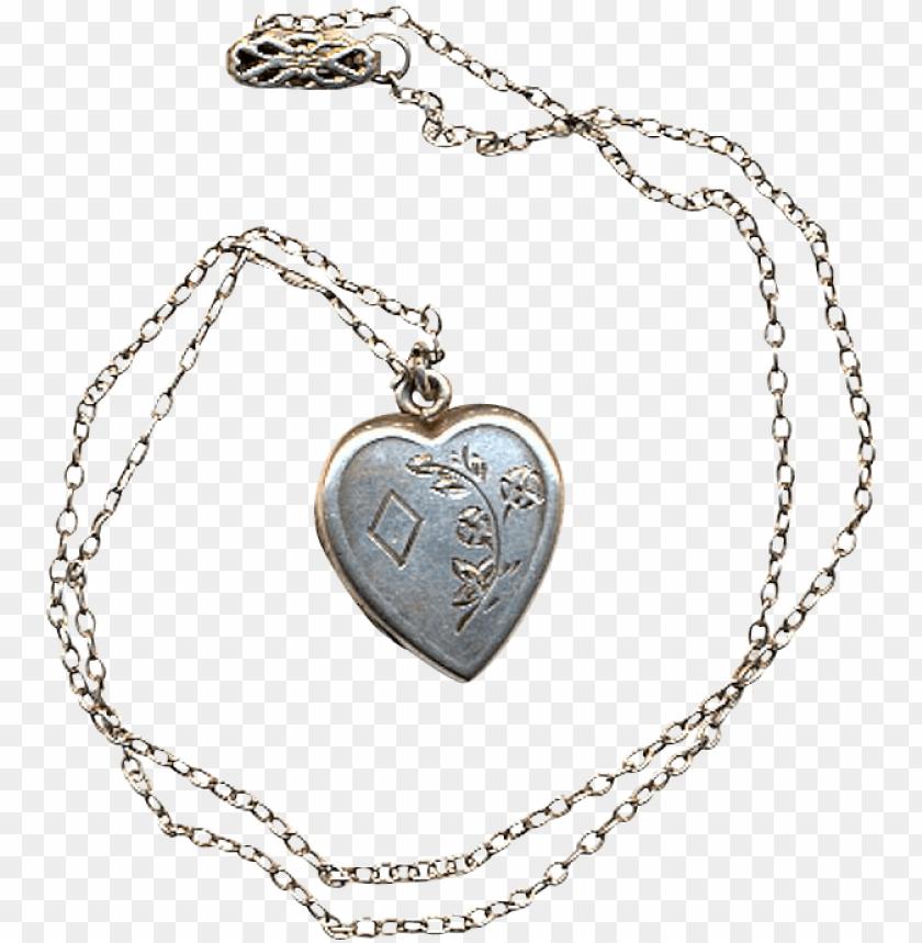 free PNG vintage sterling silver heart locket pendant necklace PNG image with transparent background PNG images transparent