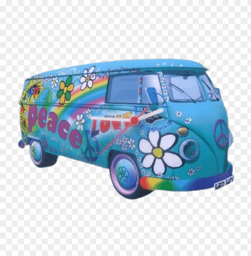 free PNG Download volkswagen love and peace van clock png images background PNG images transparent