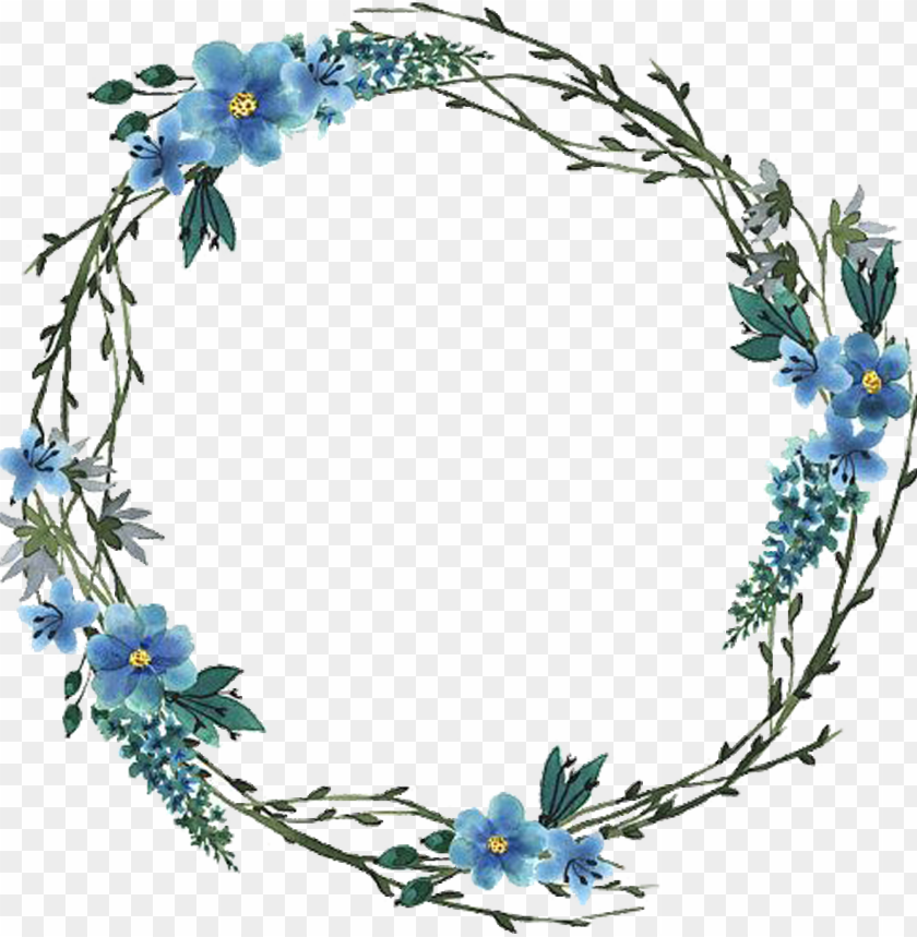 free PNG watercolor artwork - blue watercolor wreath PNG image with transparent background PNG images transparent