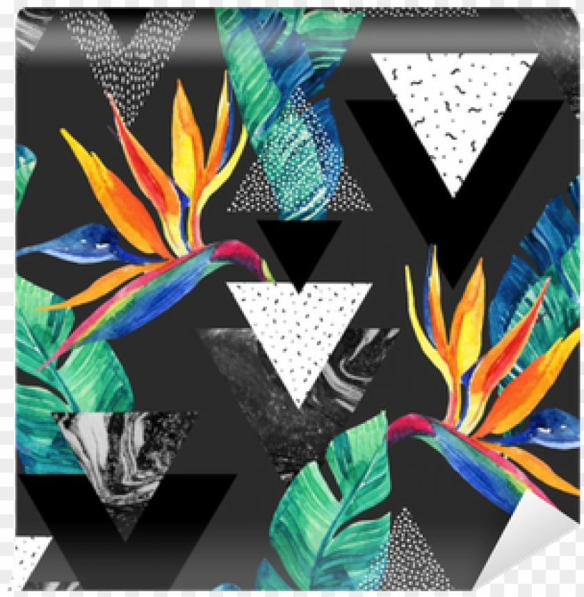 free PNG watercolor exotic flowers, leaves, grunge textures, - abstract tropical summer design seamless patter PNG image with transparent background PNG images transparent