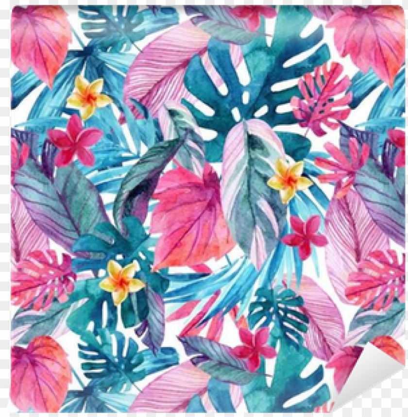 free PNG watercolor exotic leaves and flowers background - watercolor tropical background exotc PNG image with transparent background PNG images transparent