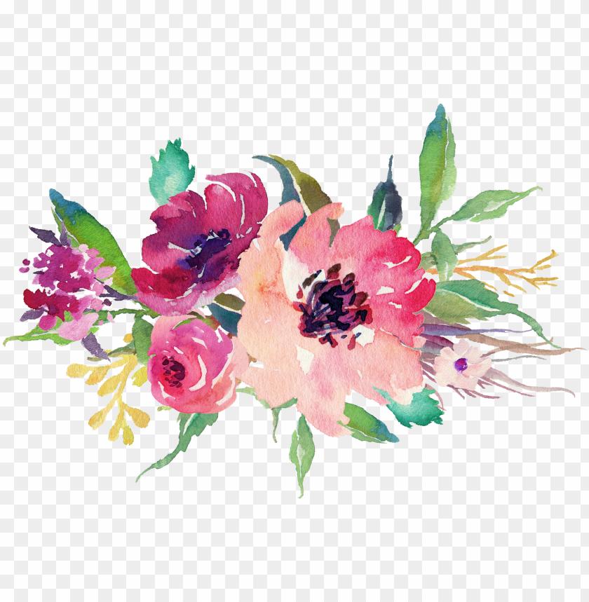 free PNG watercolor floral bouquet  stock - wedding flowers watercolor png - Free PNG Images PNG images transparent
