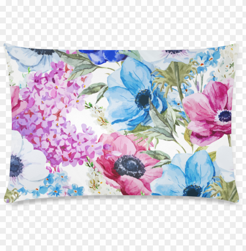 free PNG watercolor floral pattern custom rectangle pillow cases - vintage chic pink floral shower curtai PNG image with transparent background PNG images transparent