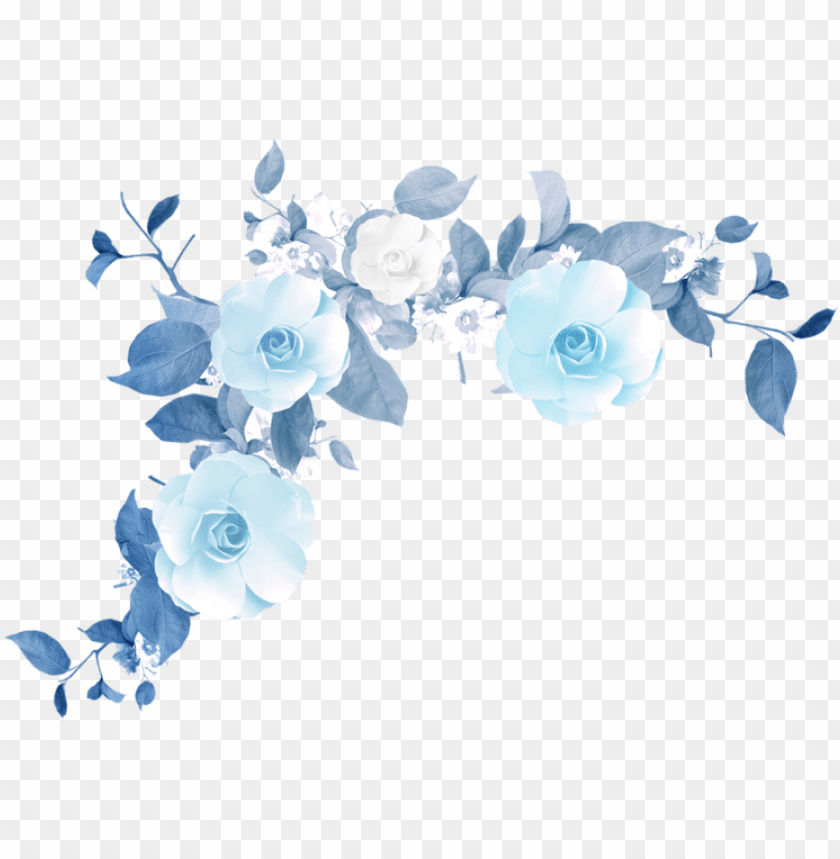 free PNG watercolor flower tumblr png - blue flower pattern PNG image with transparent background PNG images transparent