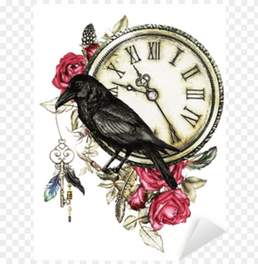 free PNG watercolor illustration with crow, red roses, clock, - crow with flowers PNG image with transparent background PNG images transparent
