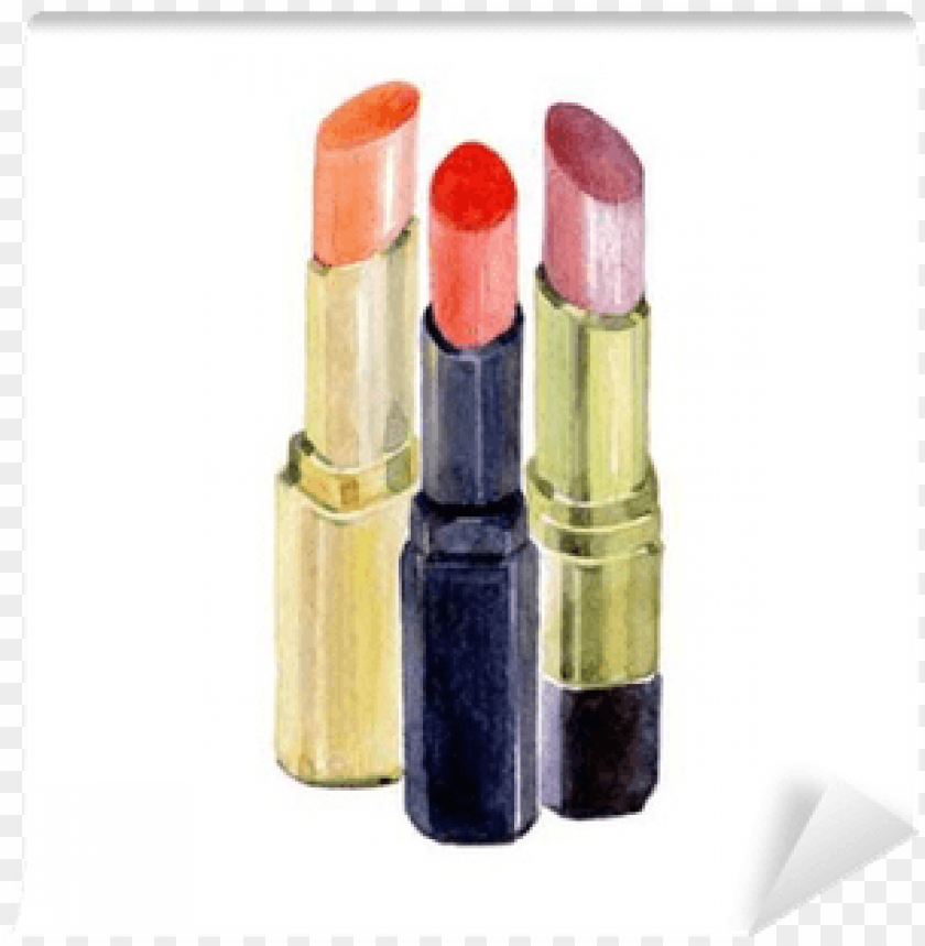 free PNG watercolor lipstick isolated on a white background - cosmetics PNG image with transparent background PNG images transparent