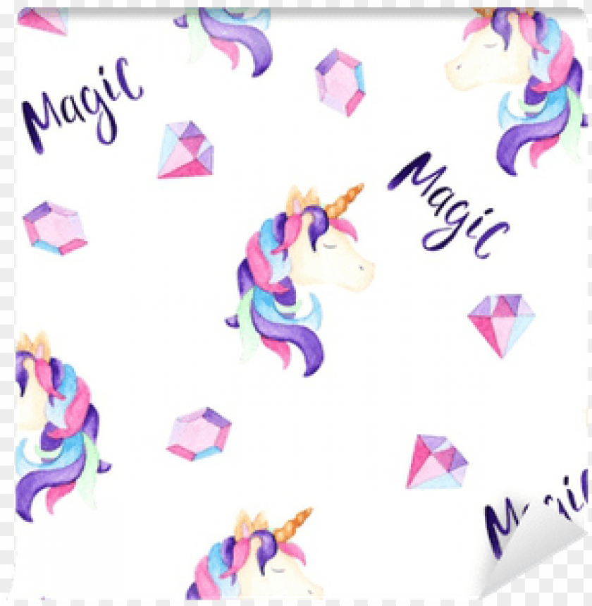 Watercolor Magical Unicorn Pattern - Background Unicorn Print PNG Image  With Transparent Background TOPpng