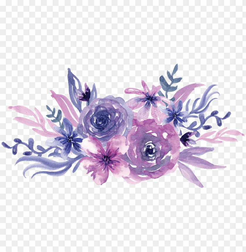 free PNG watercolor painting flowers transprent - purple flowers watercolor PNG image with transparent background PNG images transparent