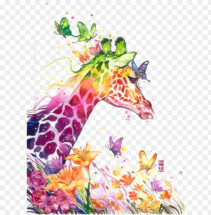 free PNG watercolor painting giraffe visual arts drawing - luqman reza mulyono art PNG image with transparent background PNG images transparent