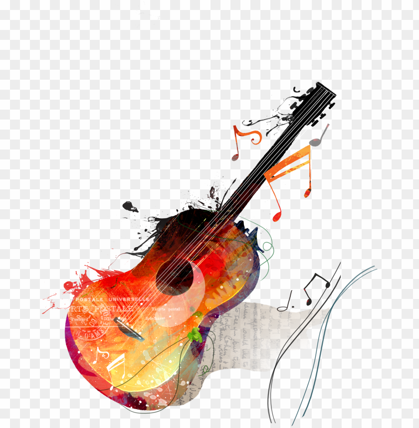 free PNG watercolor painting guitar drawing canvas - note de musique guitare PNG image with transparent background PNG images transparent