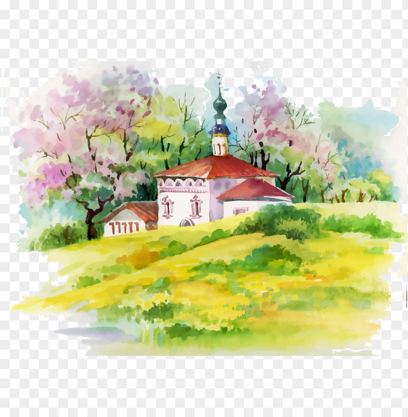 free PNG watercolor painting house illustration - beautiful art painting scenery watercolour PNG image with transparent background PNG images transparent
