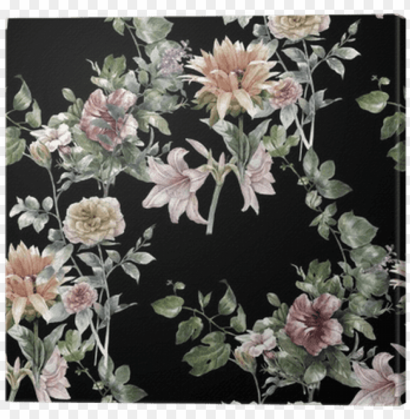 free PNG watercolor painting of leaf and flowers, seamless pattern - dark watercolor flowers backgrounds PNG image with transparent background PNG images transparent