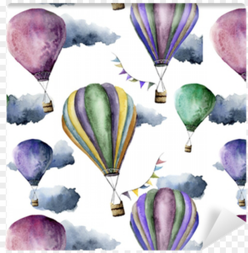free PNG watercolor pattern with bright hot air balloon - hot air balloo PNG image with transparent background PNG images transparent