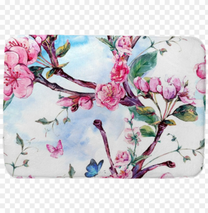 free PNG watercolor seamless pattern with flowers apricot tree - papel pintado almendro en flor PNG image with transparent background PNG images transparent