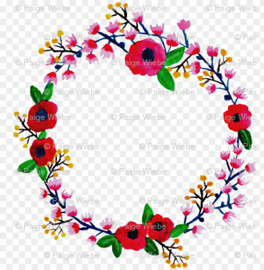 free PNG watercolor spring floral wreath - floral desi PNG image with transparent background PNG images transparent