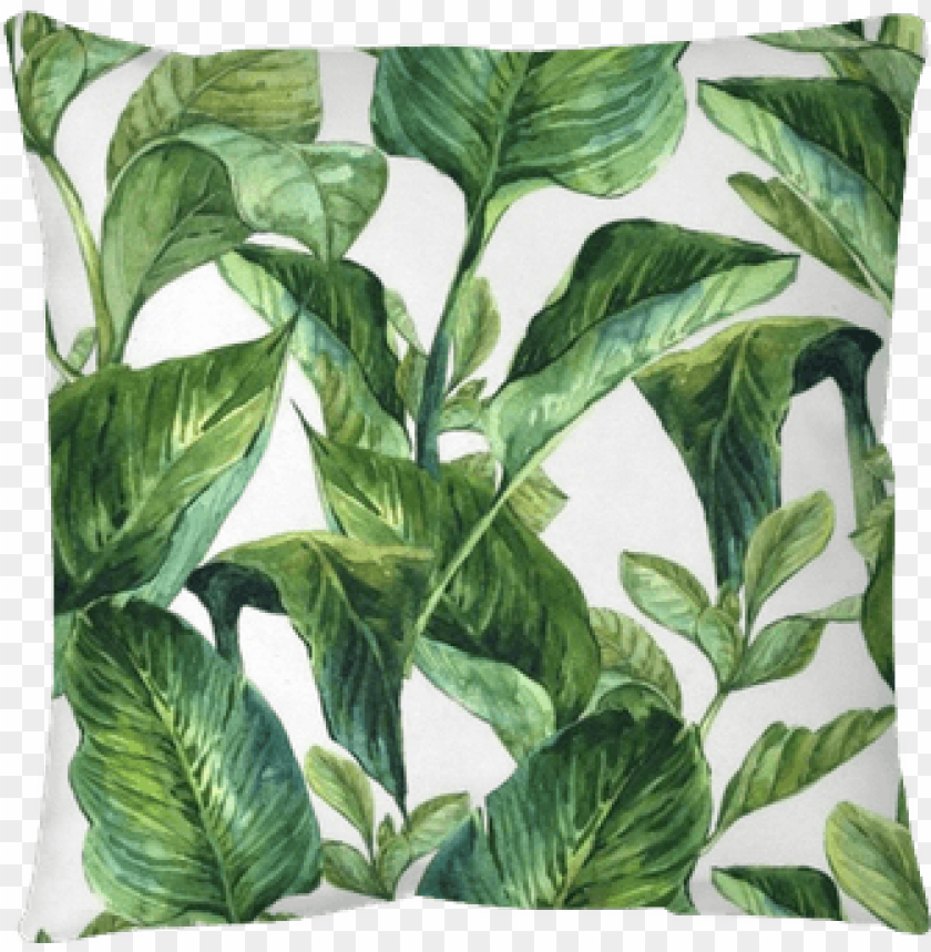 free PNG watercolor with tropical leaves throw pillow • pixers® - tropical leaves wallpaper watercolour PNG image with transparent background PNG images transparent
