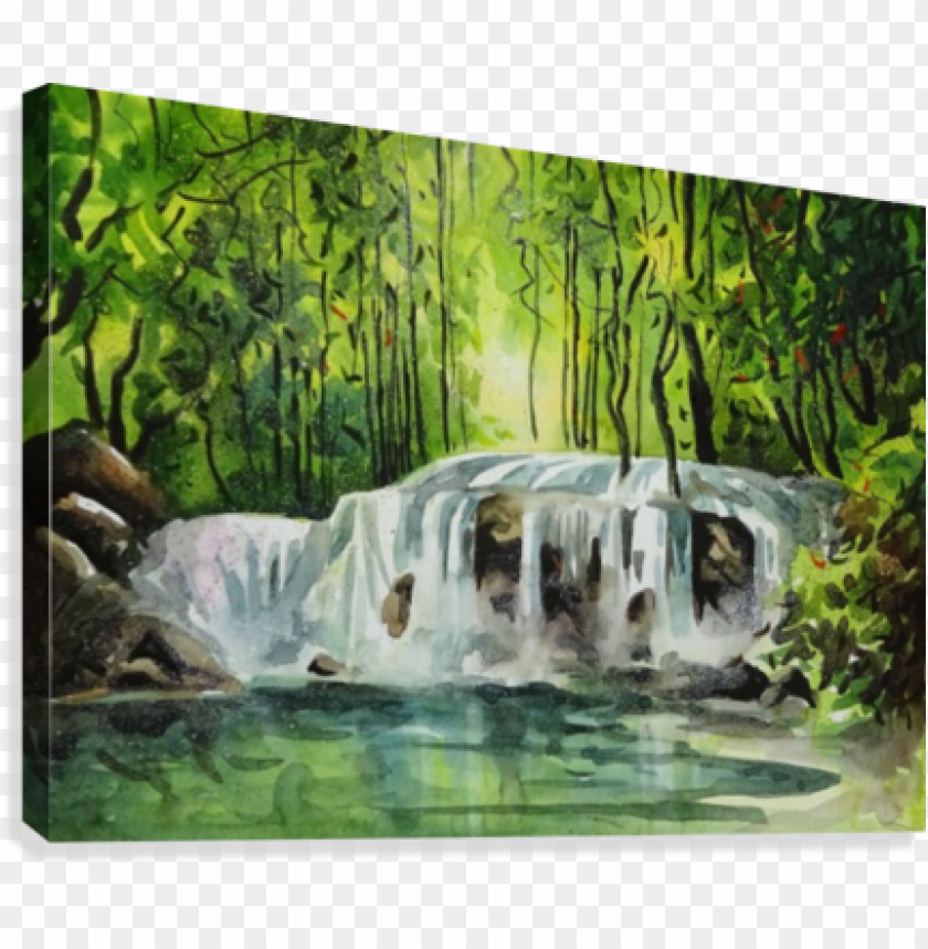free PNG waterfalls painting 11 2018 canvas print - canvas print PNG image with transparent background PNG images transparent