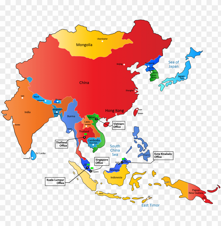 free PNG we have offices in malaysia, thailand, singapore and - asia pacific map black PNG image with transparent background PNG images transparent