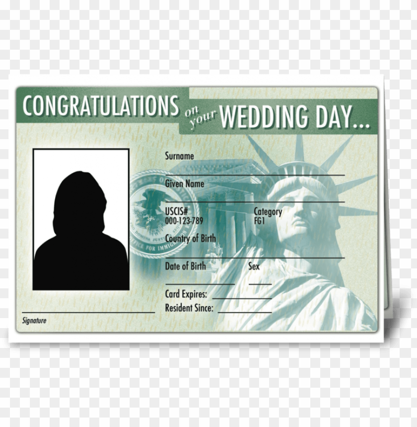 free PNG wedding card green card greeting card - statue of liberty PNG image with transparent background PNG images transparent