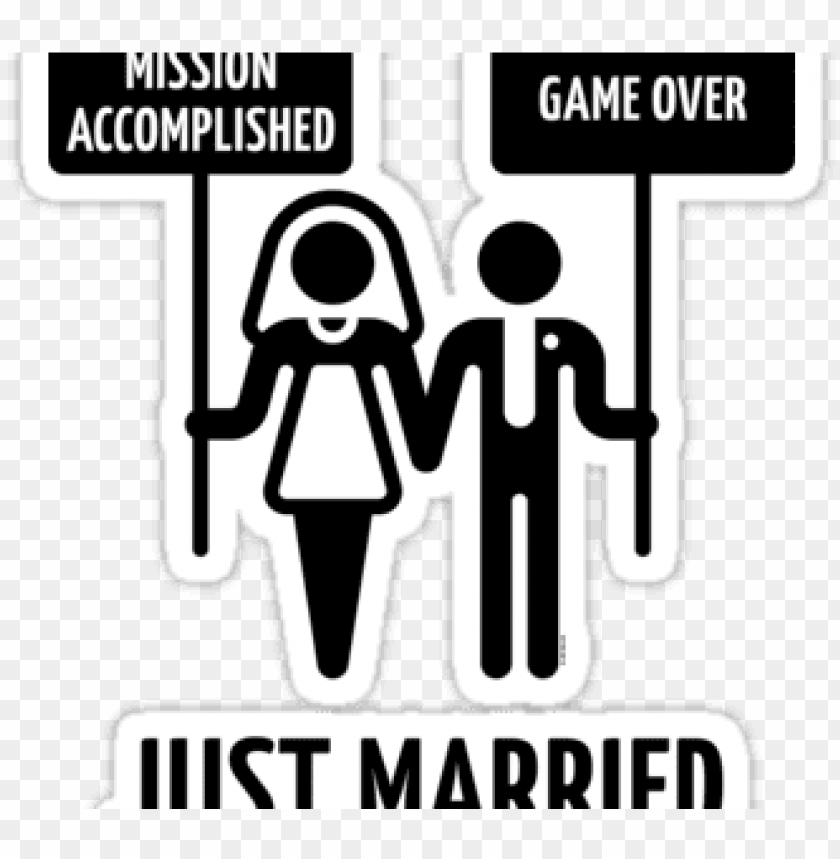 free PNG wedding couple game over png - mission accomplished just married PNG image with transparent background PNG images transparent