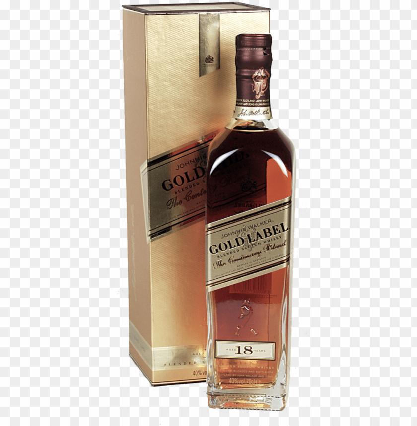 free PNG whisky johnnie walker gold label 18 years 70cl - johnnie walker gold label PNG image with transparent background PNG images transparent