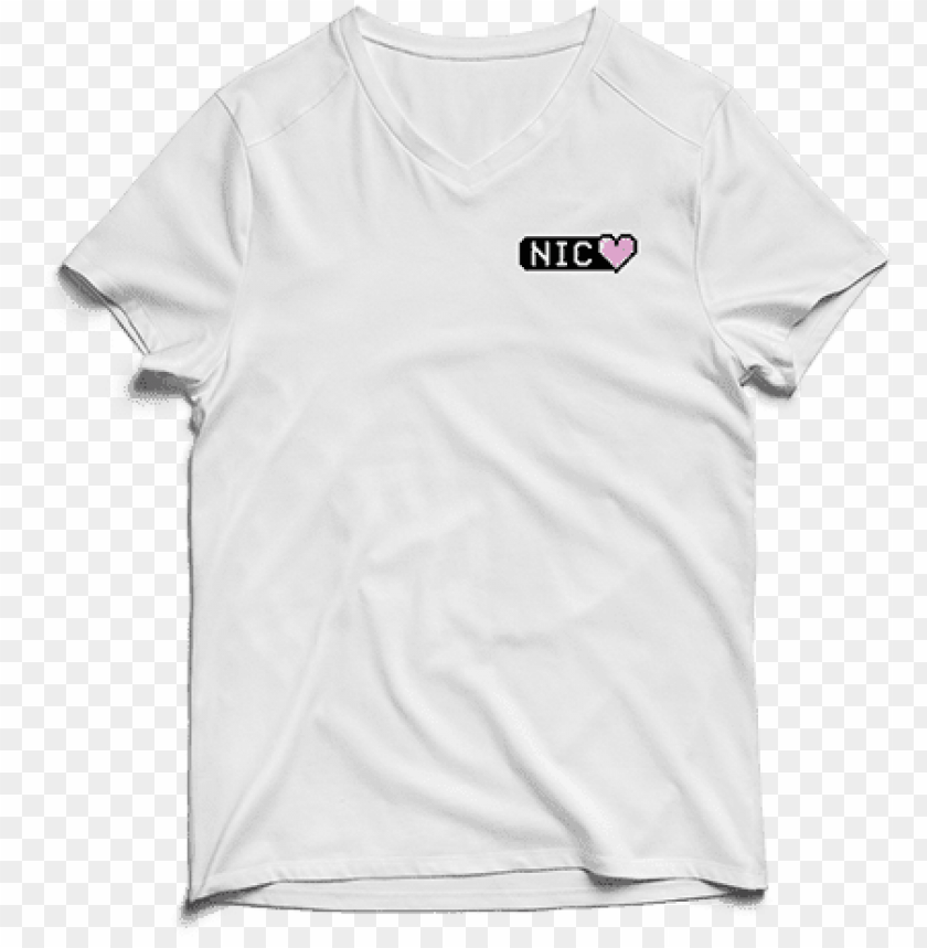 free PNG white 8-bit heart v neck tee - t-shirt PNG image with transparent background PNG images transparent